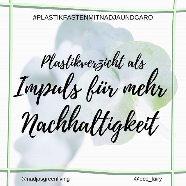 """Plastikfrei = Zero Waste = CO² neutral = Vegan = FairFashion = Minimalismus ? . . Zum Ende von #plastikfastenmitnadjaundcaro gehen wir noch auf ein paar positive Nebeneffekte des Plastikverzichts ein, denn diese bewusste Konsumänderung kann einen ziemlichen Rattenschwanz nach sich ziehen, was nachhaltiges Leben angeht. . Bei mir war es z.B. so, dass ich durch den Verzicht auf Plastik fast automatisch weniger Fleisch gegessen habe. Hier gab es keine Möglichkeit, seine eigene Dose befüllen zu lassen, und so hab ich zuerst aus reiner Faulheit beschlossen, es einfach gut sein zu lassen. Nach und nach hab ich mich dann immer mehr mit den negativen Einflüssen der Fleisch- und Tierproduktindustrie auseinandergesetzt, Dokumentationen geschaut und bin letzten Endes zu dem Schluss gekommen, dass ich sowieso aus ethischen Gründen da nicht mehr mitmachen möchte🙅🏼♀️. . Mittlerweile hab ich meine Antennen in allen Bereichen des Lebens auf nachhaltig eingestellt und konsumiere deutlich weniger als noch vor einem Jahr, dafür so gut es geht Secondhand oder von fairen Unternehmen. Auch versuche ich weniger mit dem Auto unterwegs zu sein und bin gegen Lebensmittelverschwendung als Foodsaver bei Foodsharing aktiv. Und das alles kam 'nur' durch den Plastikverzicht ins Rollen. . Hast du bei dir auch schon so einen Effekt bemerkt, seitdem du Plastik vermeidest? Oder kamst du von einem anderen Ast des """"green living"""" zum #plastikfreileben ? . . . @nadjasgreenliving #plastikfasten#fastenzeit#öko#ökofluencer#nachhaltigkeit#nachhaltigleben#grünleben#therisnoplanetb#greensetters#zerowastelifestyle#zerowastedeutschland#lowimpact#umweltschutz#plastikfreihamm #plastikfrei#ohnewennundabfall#unverpackt#müllvermeidung#veganfürdieumwelt#hamm #vegandeutschland#veganleben #pflanzenbasiert #eatplantsnotfriends #veganwerdenwaslosdigga #deutschlandistvegan"""