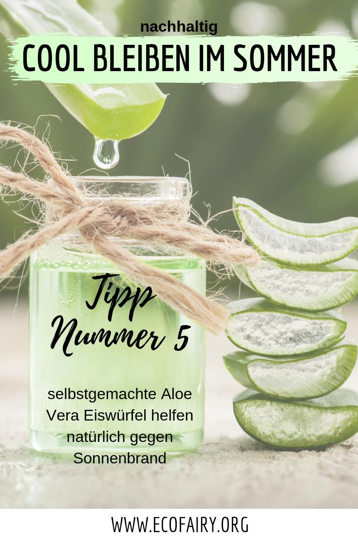 nachhaltig cool bleiben im Sommer - Aloe Vera Eiswürfel gegen Sonnenbrand Pin.png