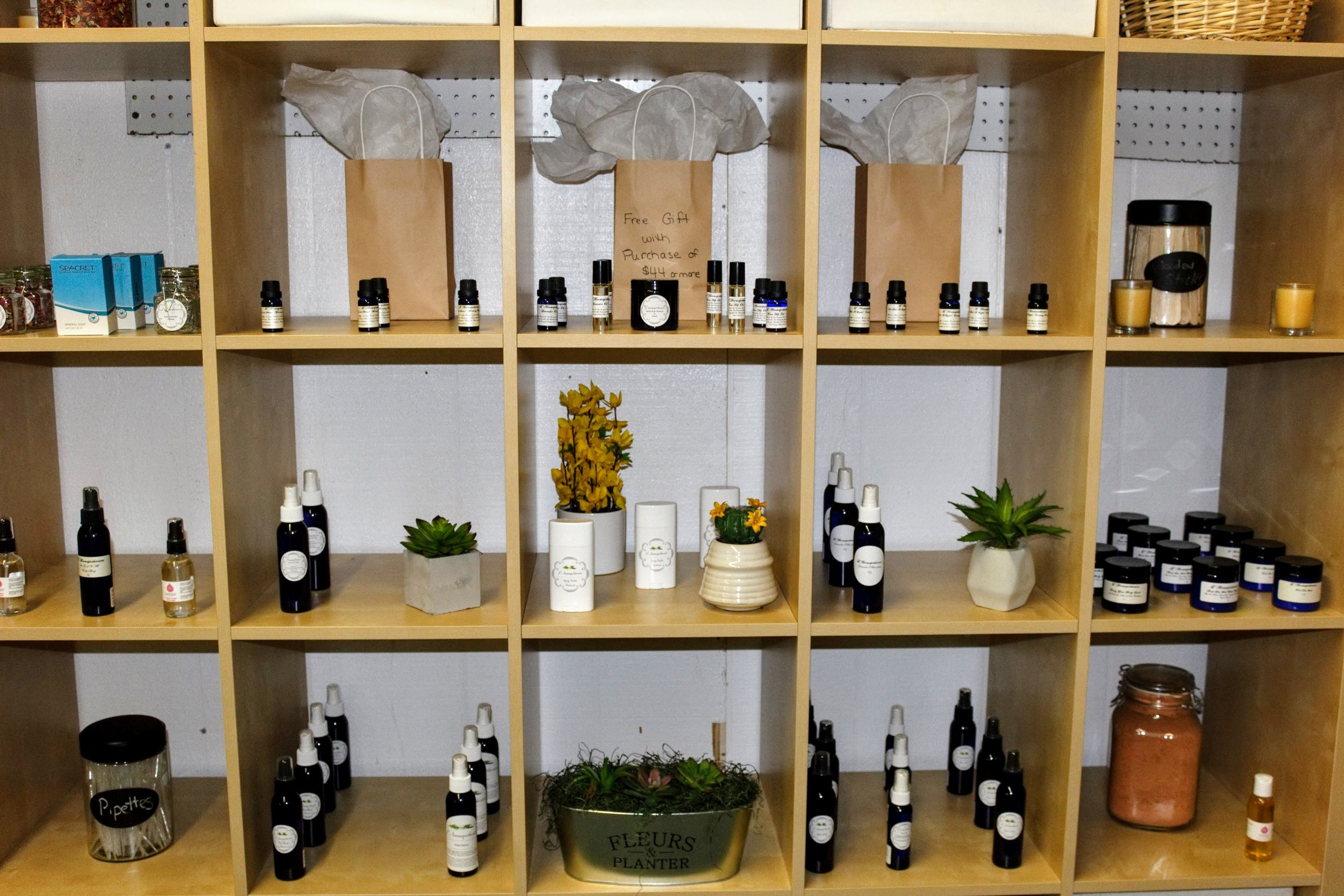 The synergy of science and nature come together at L'Aromapothicaire. It is a holistic approach to health offering high quality essential oils, custom synergy blends, custom bath salts, facial oils, creams, mists and more!