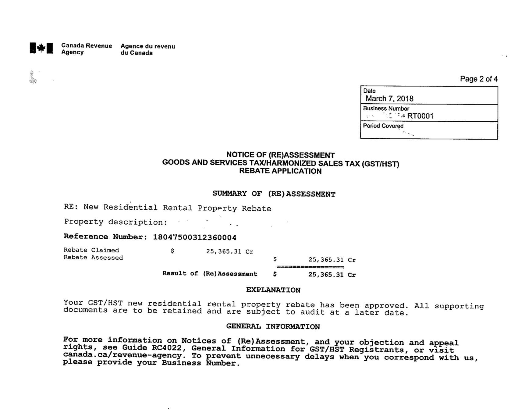 Received $25,365 in HST Rebate for New Residential Rental Property Rebate -