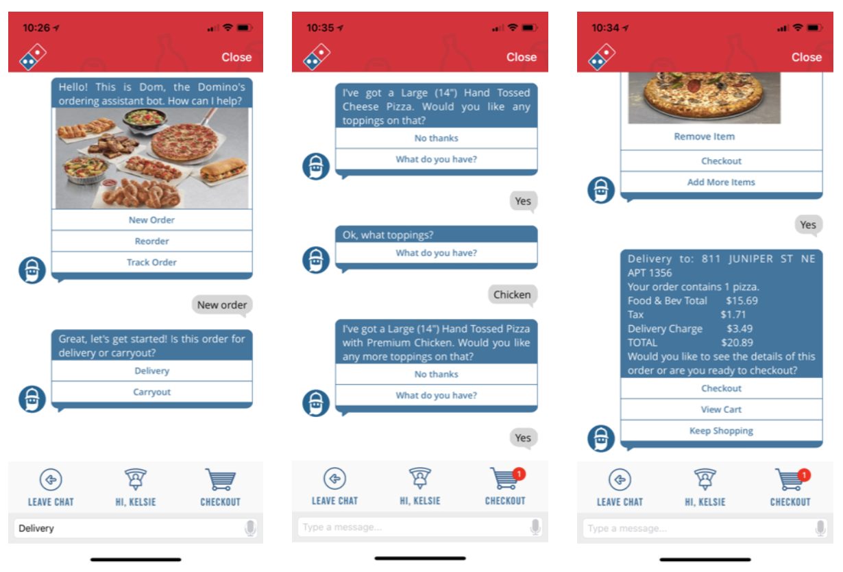 A peek into the competitive analysis - Dom, Domino's ordering assistant bot allows you to use both, text and voice interaction to place orders