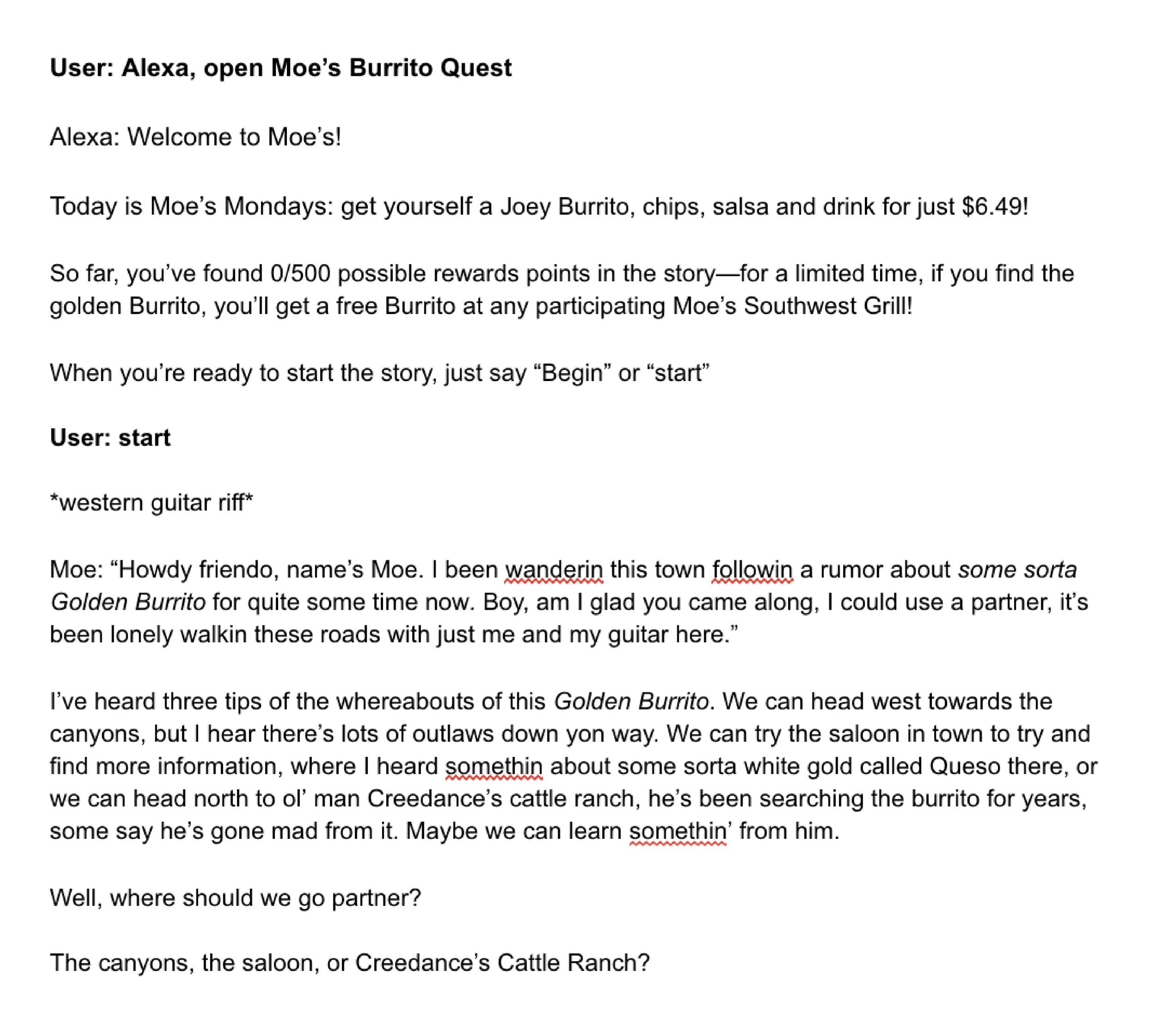 A script for the Burrito Quest concept