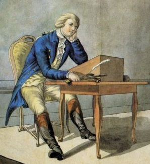 Young Werther struggling at his desk.