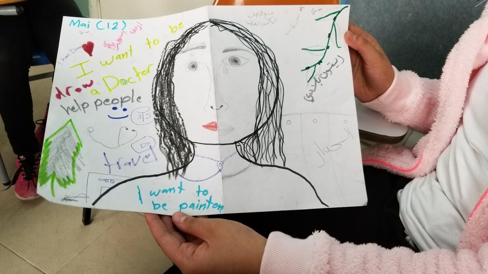 May shares her self portrait, Dar al-Kalima Evangelical Lutheran School, Bethlehem