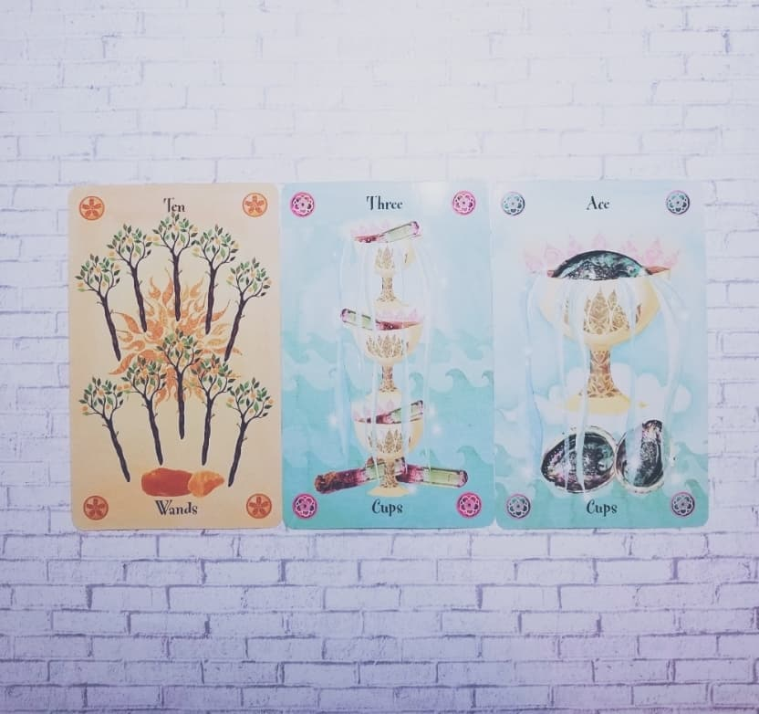 From left to right: Ten of Wands, Three of Cups, Ace of Cups