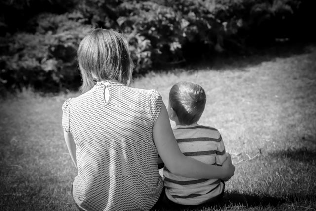 A single mom and her son. But where is dad with his little ones? Dads matter so get in the frame.