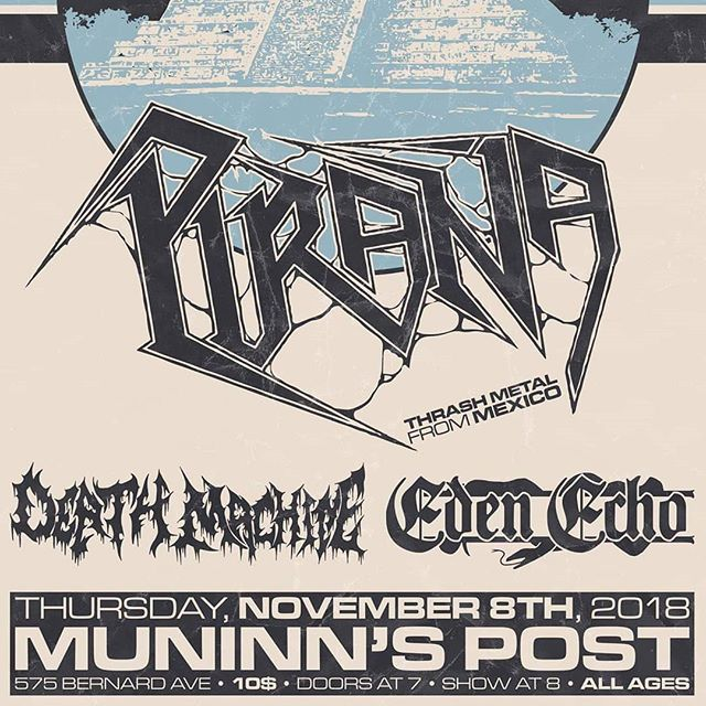 Hitting the stage with @death_machine_band and @piranathrash tonight! Check us out at @muninnspost for our last show of the year! . . . . #edenecho #edenechoband #metal #heavymetal #progmetal #kelownametal #canadianmetal #band #music #kingdomintheshadow #muninnspost #deathmachine #piranathrash