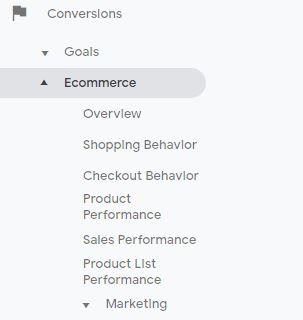 Google Analytics Ecommerce menu