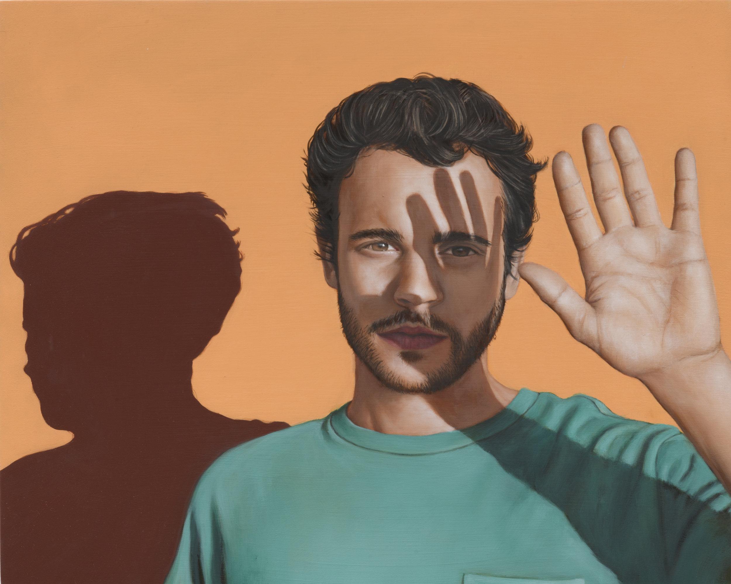 "Lora Schlesinger Gallery, Gabriel Sanchez,  Gabriel,  2019, oil on panel, 16 x 20"""