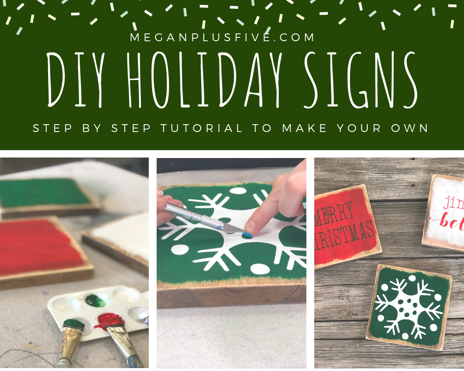 DIY holiday signs, make your own winter mini signs