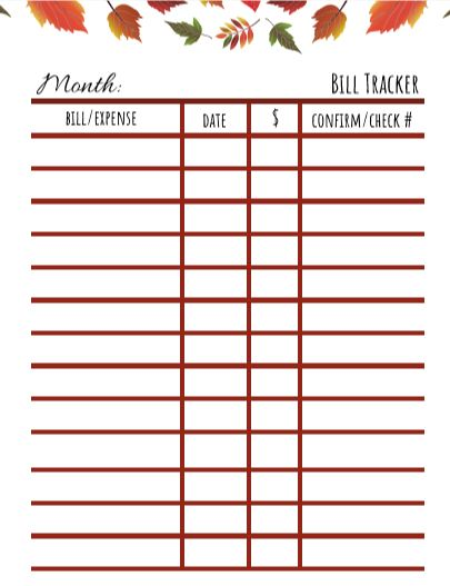 FREE Printables to keep your monthly bills in order
