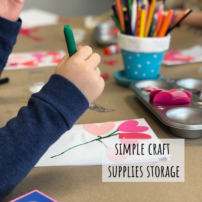 Crafting hack, simple storage to use while your kids craft
