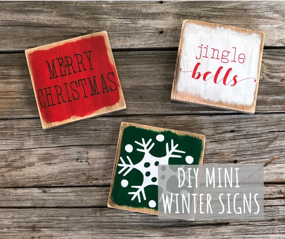 DIY mini stenciled Christmas signs