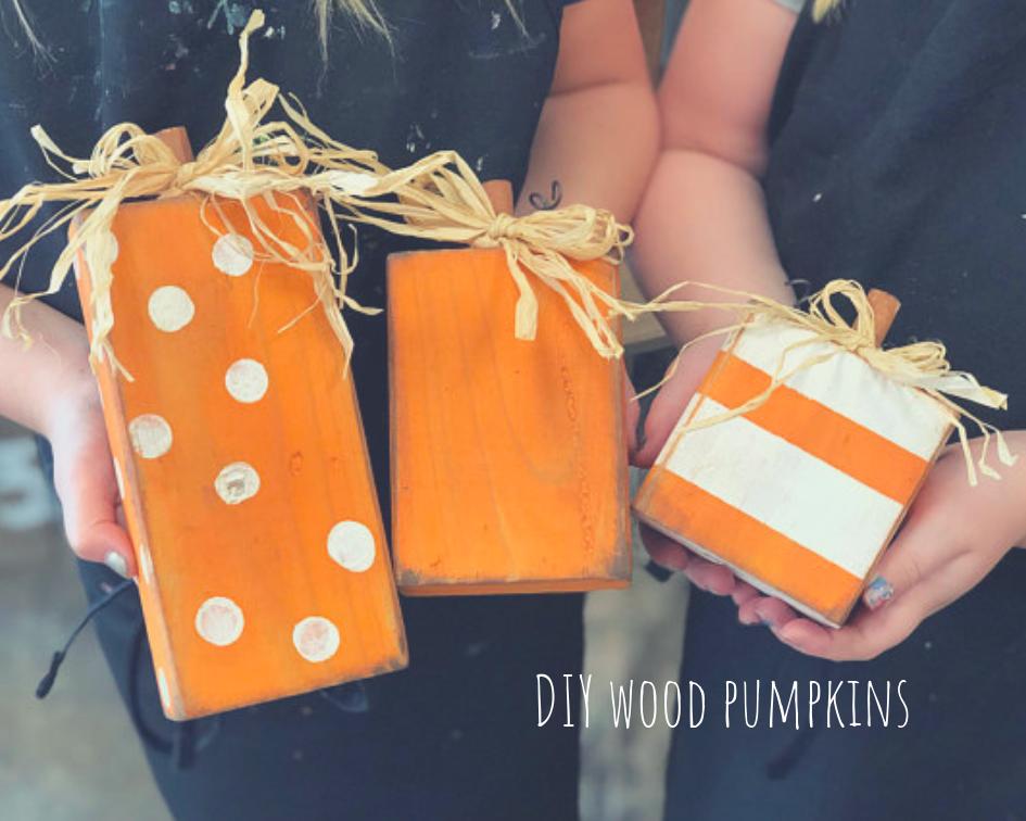 DIY 2x4 rustic wood pumpkin blocks