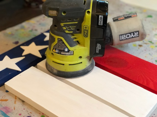 DIY hanging wood flag, how to make your own American flag to display on your front porch