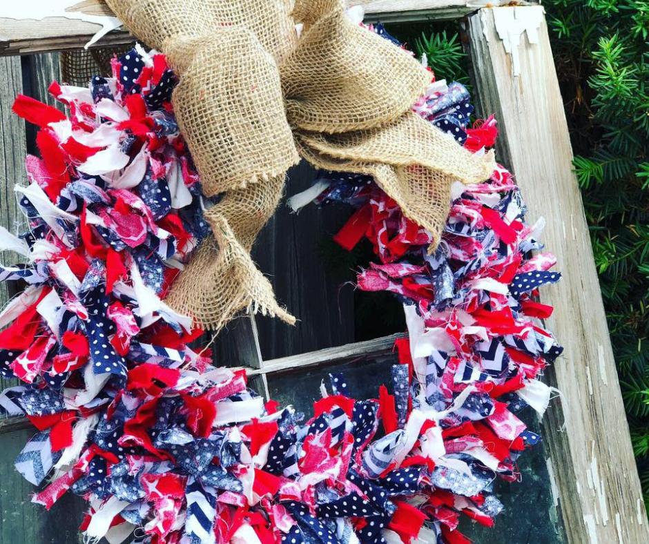 DIY 4th  of July rag wreath