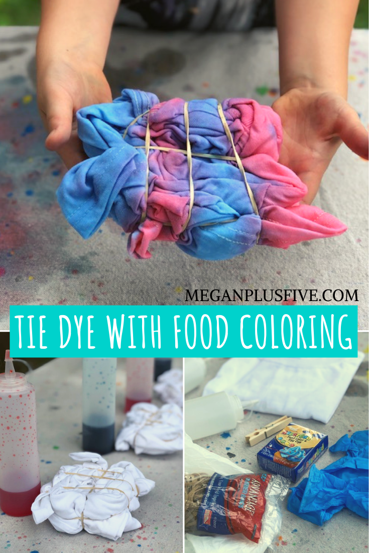 How to tie dye using food coloing. An easy way for kids to learn the techniques of tie dying chemical free.