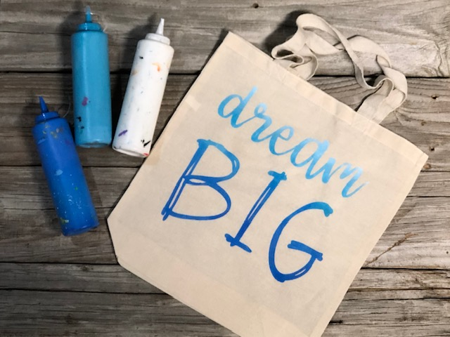 How to stencil on a canvas bag tote. Paint on a canvas bag to personalize it.