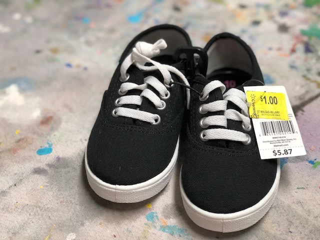 DIY clearance shoes makeover. How to paint on canvas shoes.