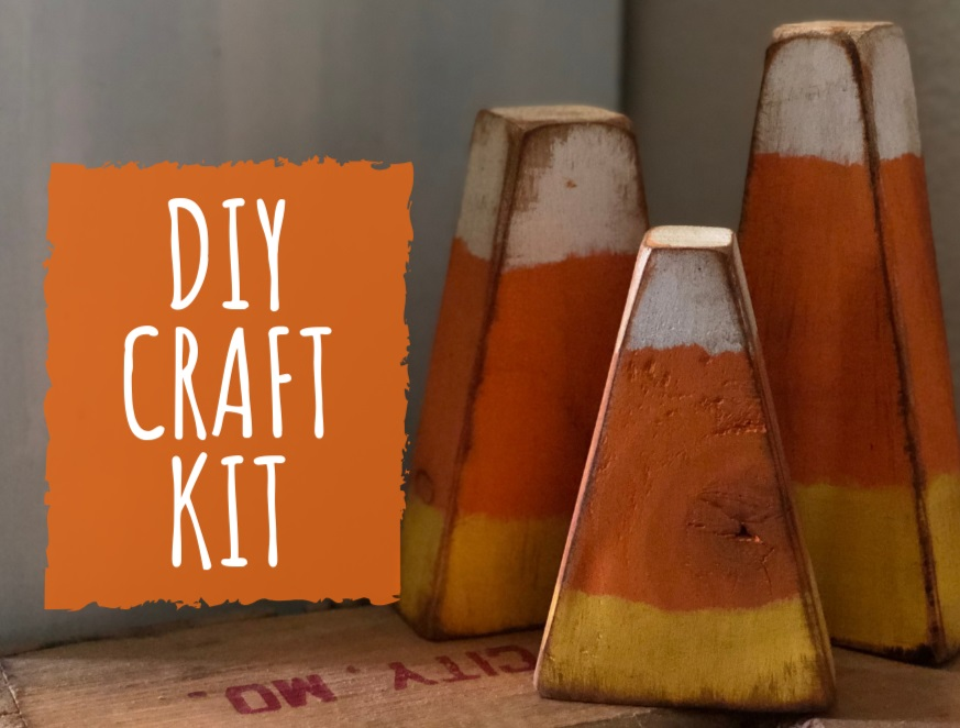 DIY CRAFT KIT CANDY CORN, how to make your own rustic wood candy corn decor