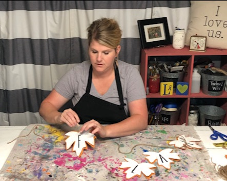How to make your own Rae Dunn inspired burlap leaf garland using items from the Dollar Tree