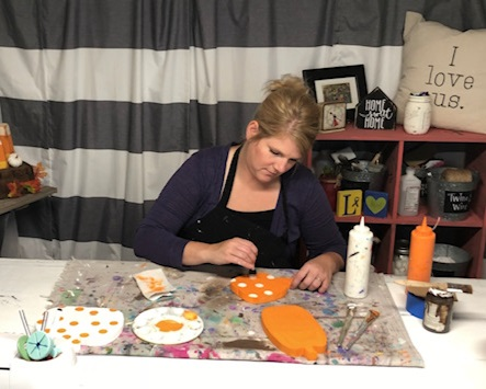 How to paint wood pumpkin cutouts. This easy DIY kit has everything you need to DIY this sweet and simple rustic fall decor. How to paint polk a dots on pumpkins