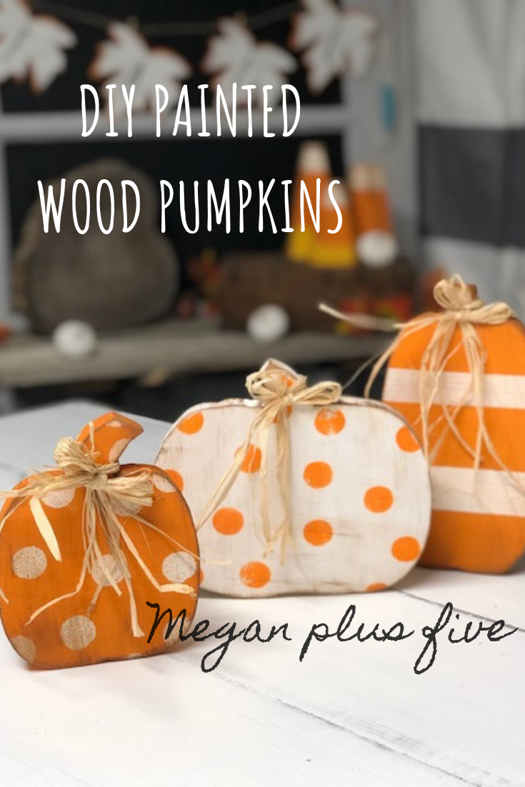 How to paint wood pumpkins for your rustic decor. Distressing and applying wax to make them even more adorable. Add some stripes and polk-a-dots too to give them a modern twist.