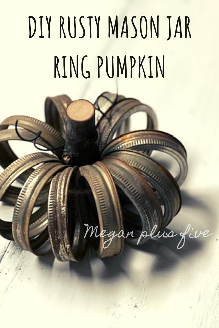 DIY RUSTY MASON JAR RING PUMPKIN, how turn your unwanted mason jar lids and turn them into a rustic pumpkin for fall