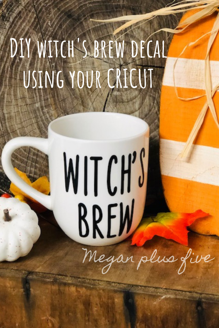DIY witch's brew decal using your cricut. Adding vinyl decals to your everyday decor is an easy way to decorate for the holidays without a spending alot on new decorations.