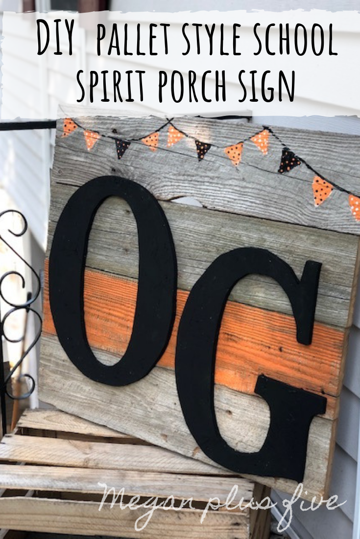 DIY school spirit pallet style porch sign. How to make your own personalized repurposed wooden sign to show your small town pride.