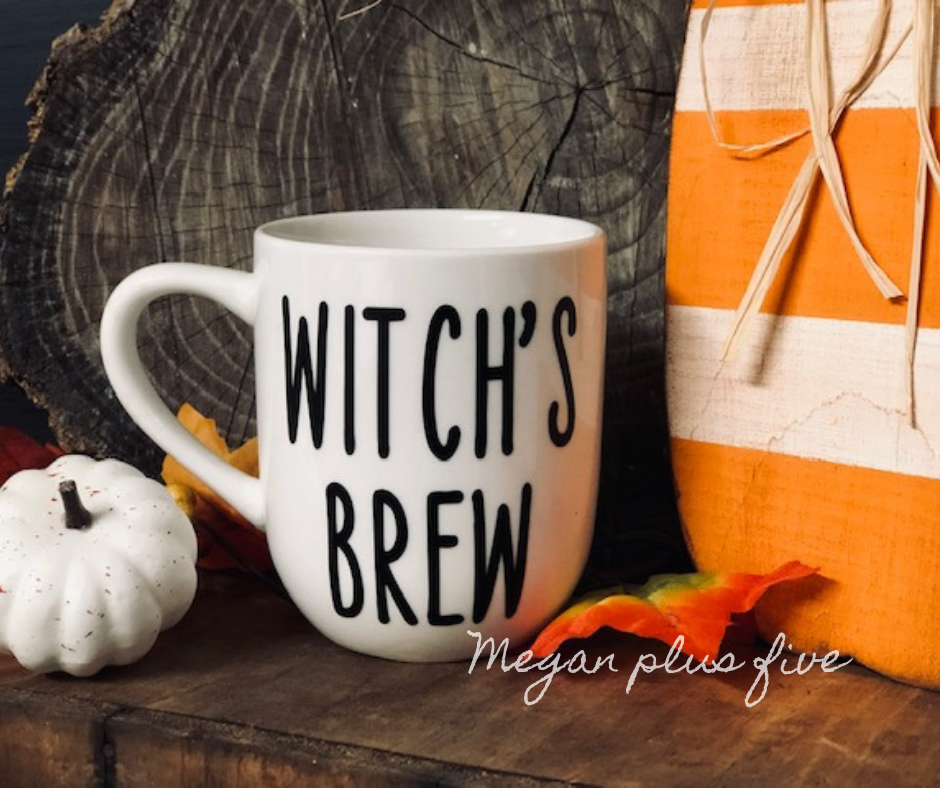 Easy Halloween themed coffee mug vinyl decal using Cricut Design Space. How to make and apply your own custom decals using your Cricut and Oracal vinyl.