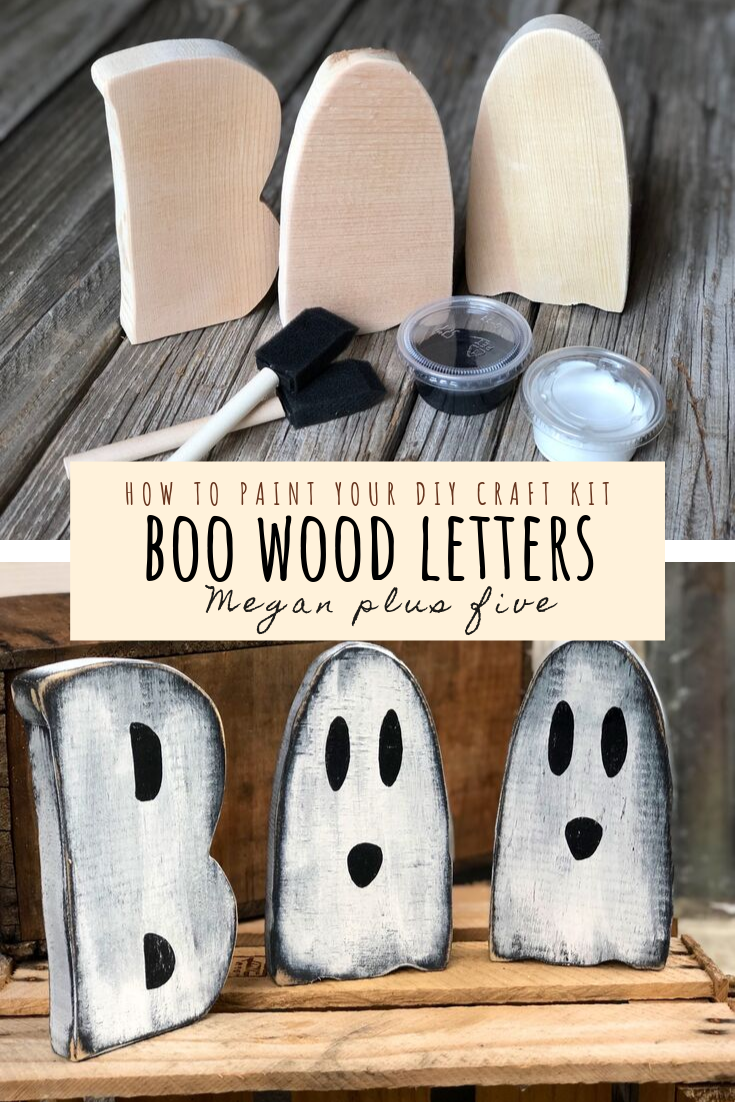 how to paint your diy craft kit, BOO wood letters. DIY craft kits for adults. Halloween wood letter cutouts diy projects