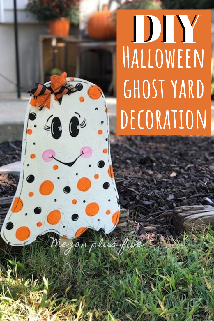 DIY Halloween ghost yard decoration. How to make a cute wood ghost easy with your scroll saw.