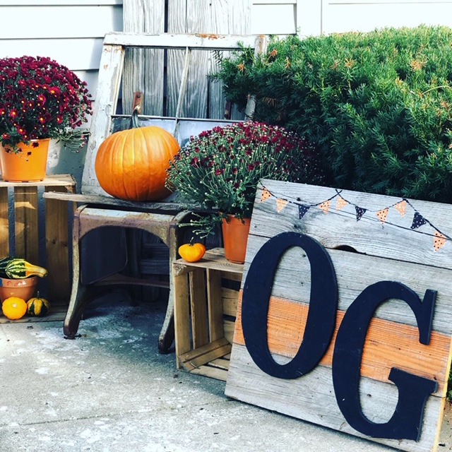 Decorating your porch for fall on a budget. See  how this mom spent $20 to spruce up her uncorvered front porch to decorate for the fall season. Mums and pumpkins included.