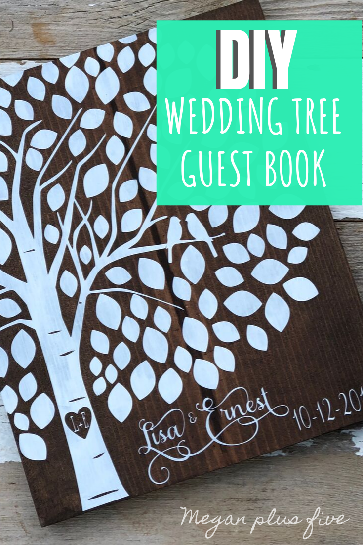 DIY wedding tree guest book. How yo make your own painted wood signs for your wedding. Making your custom wedding signs.