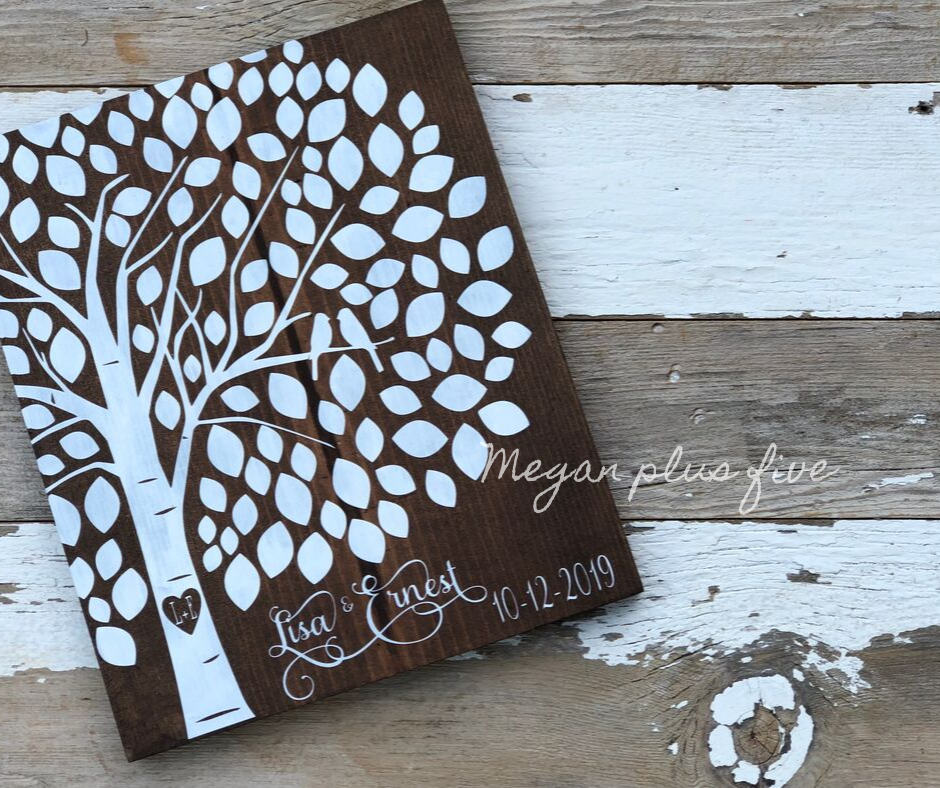 DIY wedding guestbook alternative, how to make your own wood sign for your wedding. Personalized painted wedding tree with birds.
