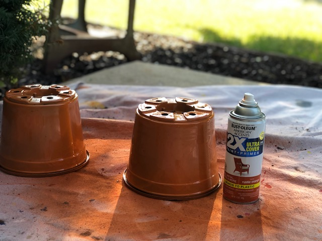 How to paint plastic flower containers for fall