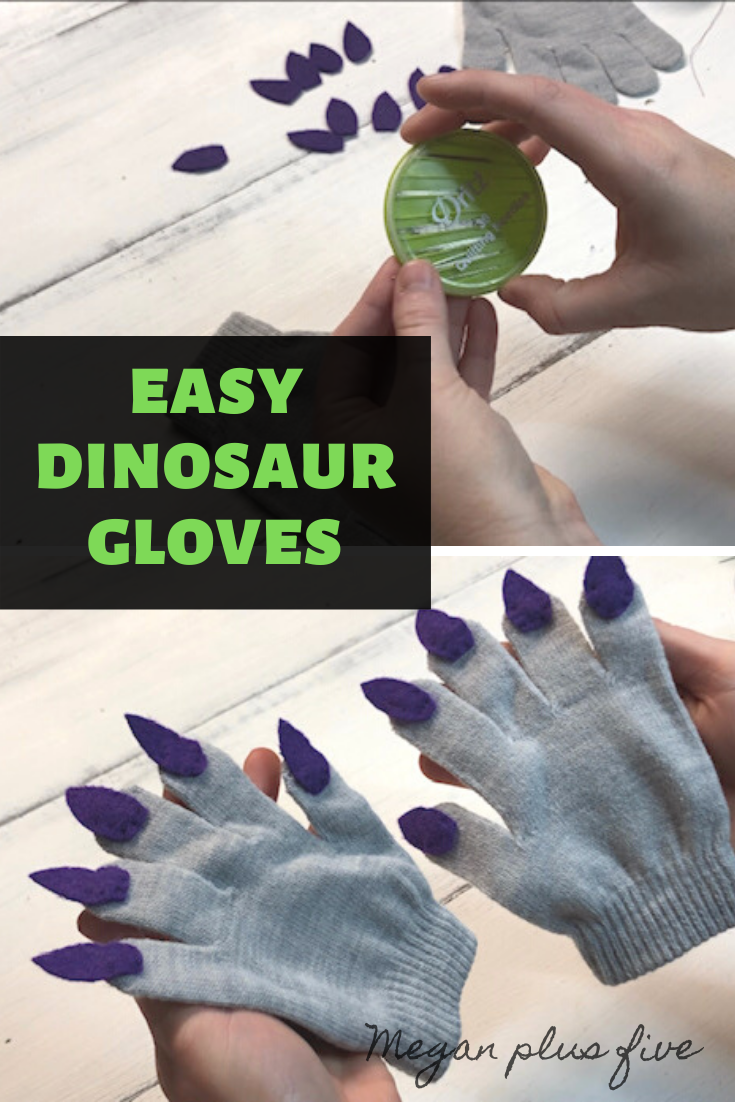 DIY Dinosaur Gloves, easy sewing project for Halloween costumes, how to sew claws onto gloves. Monster glove tutorial.