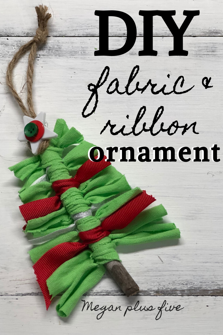 DIY fabric & ribbon ornament craft. How to make easy ornaments with the kids for Christmas. Frugal Crhistmas ornaments to DIY with the family.