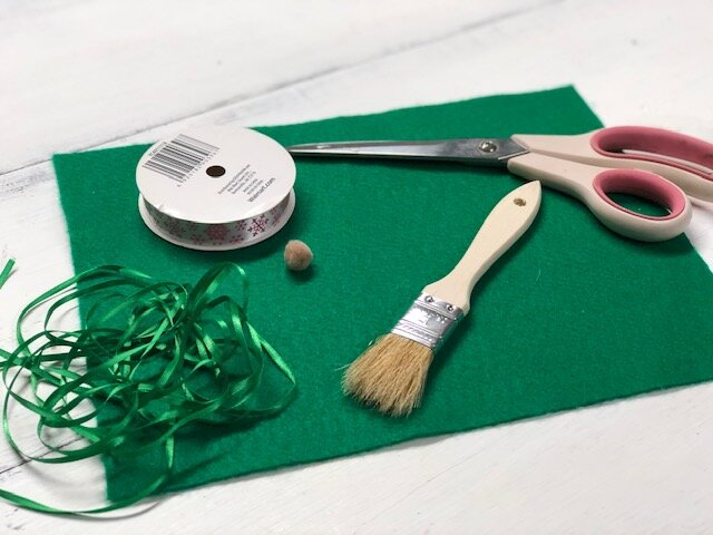 DIY Gnome Ornament, how to make an easy gnome Christmas tree ornament from a paint brush. Cheap and easy gnome craft for adults and kids.