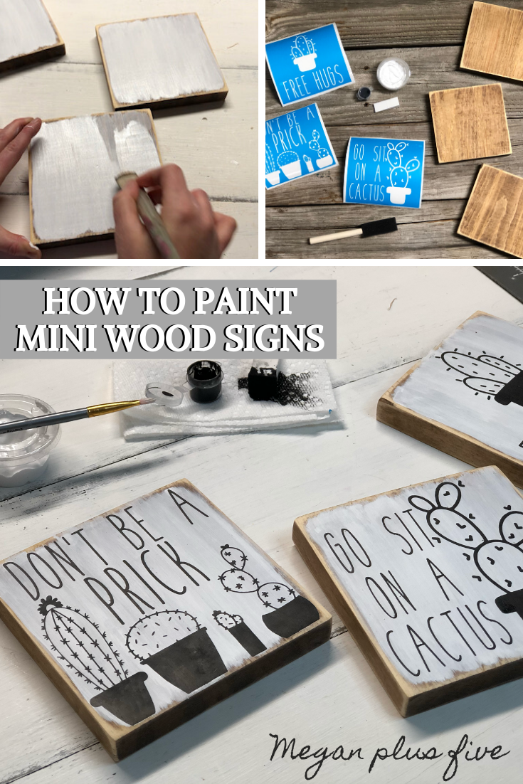 DIY painted wood sign tutorial. How to stencil and paint mini wood signs. Funny cactus signs to make.