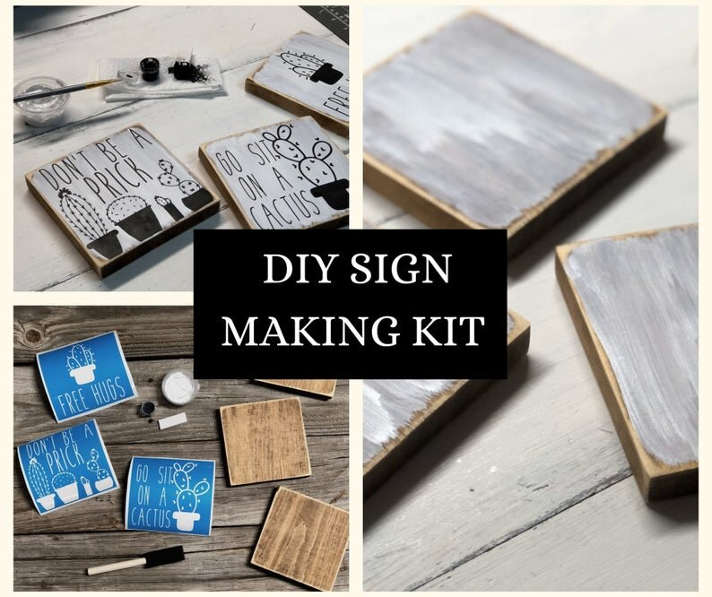 DIY sign making kit, how to paint wood signs tutorial. Mini wood sign, funny cactus signs, humorous home decor. Don't be a prick sign