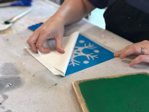 Now slowly peel the paper backing away from the stencil. This works best if you start at one corner and peel away at a sharp 90 degree angle. Go SLOW.
