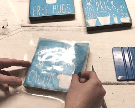 DIY mini wood sign tutorial. How to make hand painted wood signs with stencils, funny cactus signs, Don't be a prick, go sit on a cactus, free hugs cactus decor