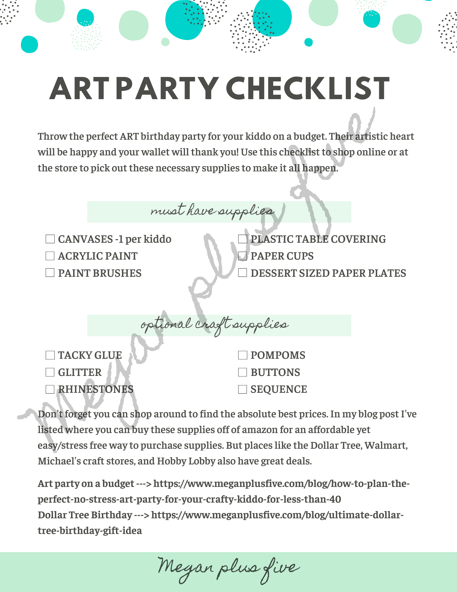 Art party on a budget. FREE printable how to plan a crafty art birthday party without breaking the bank