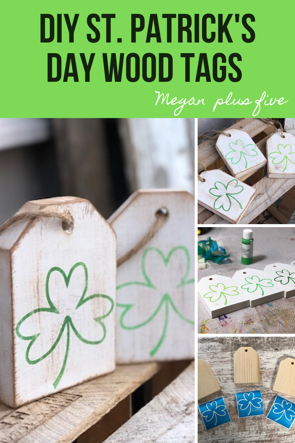DIY St. Patrick's Day wood tags, how to paint mini wood signs. Using Ryobi tools and a Cricut  to create handmade wood signs
