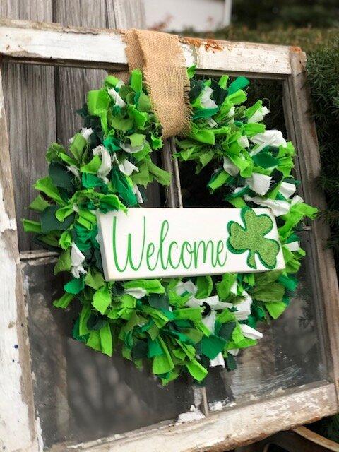 DIY Dollar Tree St. Patrick's Day rag wreath