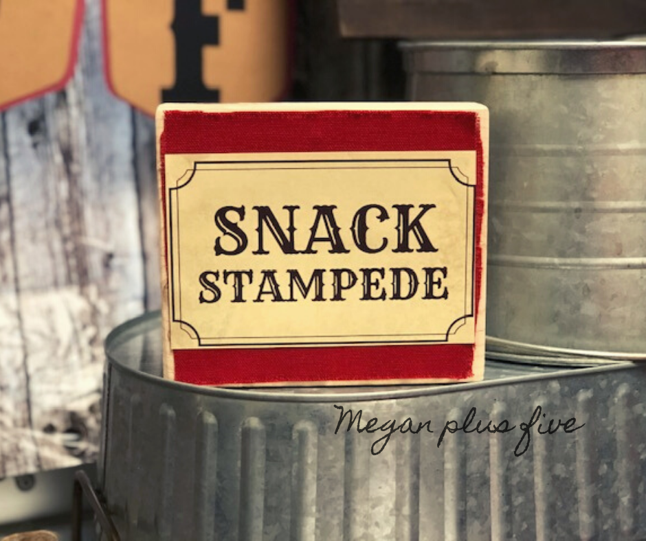 Snack stampede, how to apply paper to wood. DIY western party table decor. mod podge on wooden sign for easy inexpensive sign making.