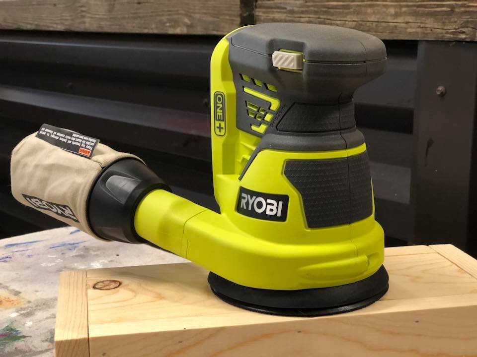 Ryobi sander cordless sander. What are the best power tools for women to use in their craft business. Crafty moms power tools.