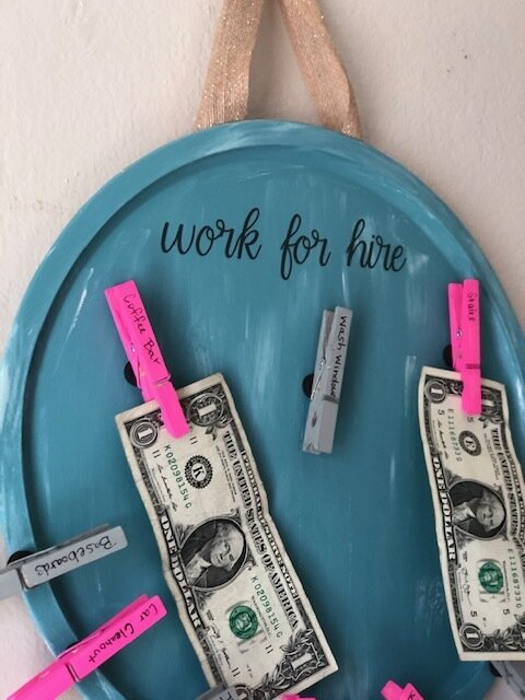 Dollar Tree pizza pan DIY work for hire chore chart. How to make a work for hire board for your kids. Easy Dollar Tree craft.